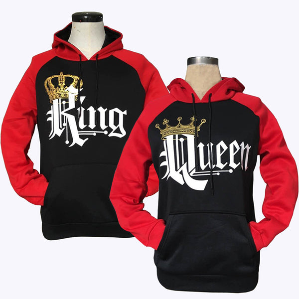 Printed Hooded Couple Sweatshirt