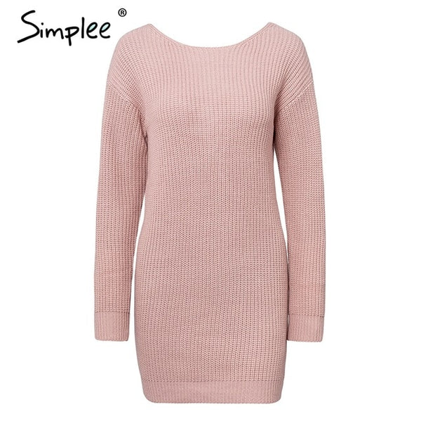 Simplee Sexy off shoulder knitted dress Backless cross fashion long sleeve women dresses Autumn winter chic casual sweater dress