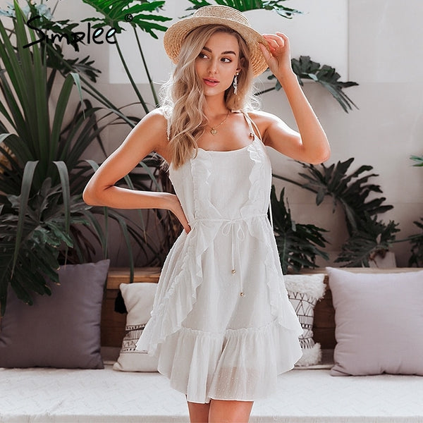 Simplee Sexy sleeveless summer dress Ruffled boho sash strap beach dress Casual holiday ladies soft cotton bodycon mini dress