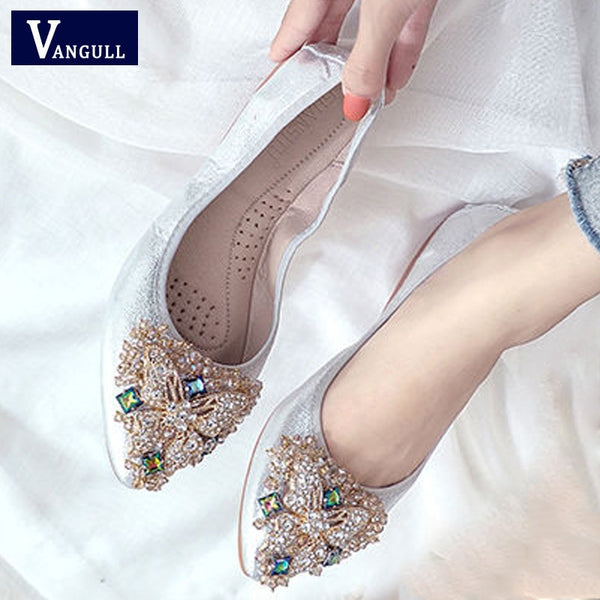 VANGULL 2019 spring autumn new women shoes flats bottom rhinestones crystal shoes pointed toes casual basic femal slip-on flats