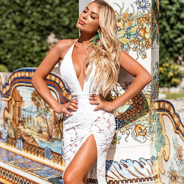 ADYCE New Summer White Lace Bodycon Bandage Dress Sexy Deep V Neck Halter Mini Club Celebrity Evening Runway Party Dress Vestido