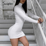 Simplee Sexy slim fit women's dress Solid color tight high collar long sleeve dress Party night club short dress autumn 2020