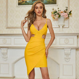 Adyce New Summer Women Hollow Out V Neck Club Bandage Dress Sexy Spaghetti Strap Yellow Celebrity Runway Party Dresses Vestidos