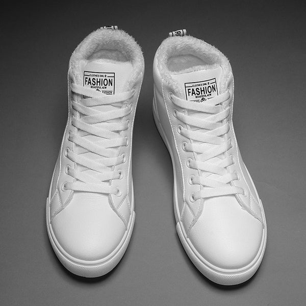 Autumn and winter models of real microfiber leather high-top couple sneakers  white shoes inner height  increase 35-44  Hot Sale