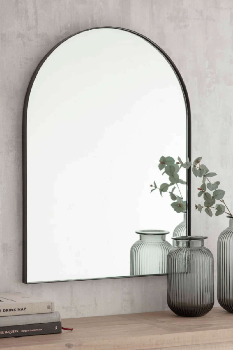 Arched Iron Wall Mirror Above Console Table - Coates & Warner