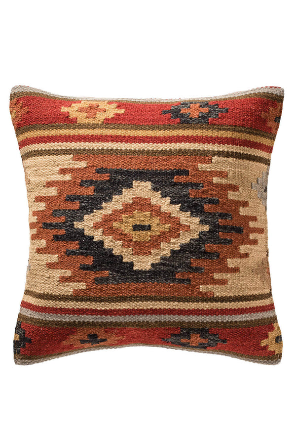Arzu Red Kilim Tribal Cushion Square - Coates & Warner