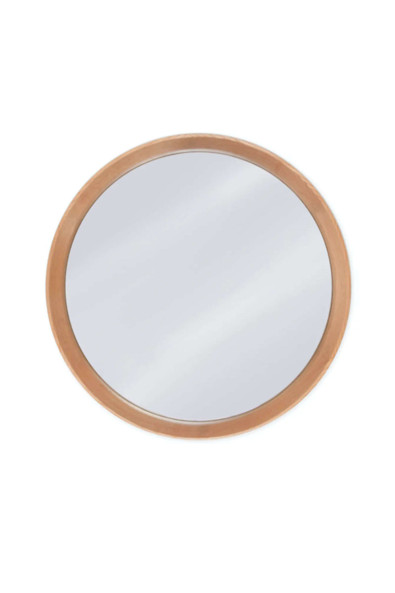 Round Oak Wall Mirror Front View - Coates & Warner