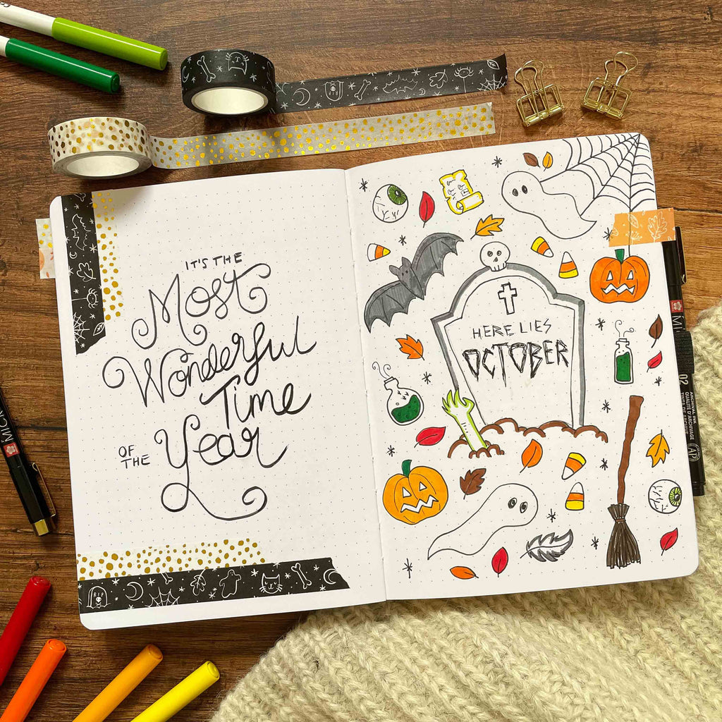 October Cover Page with Spooky Doodles Washi