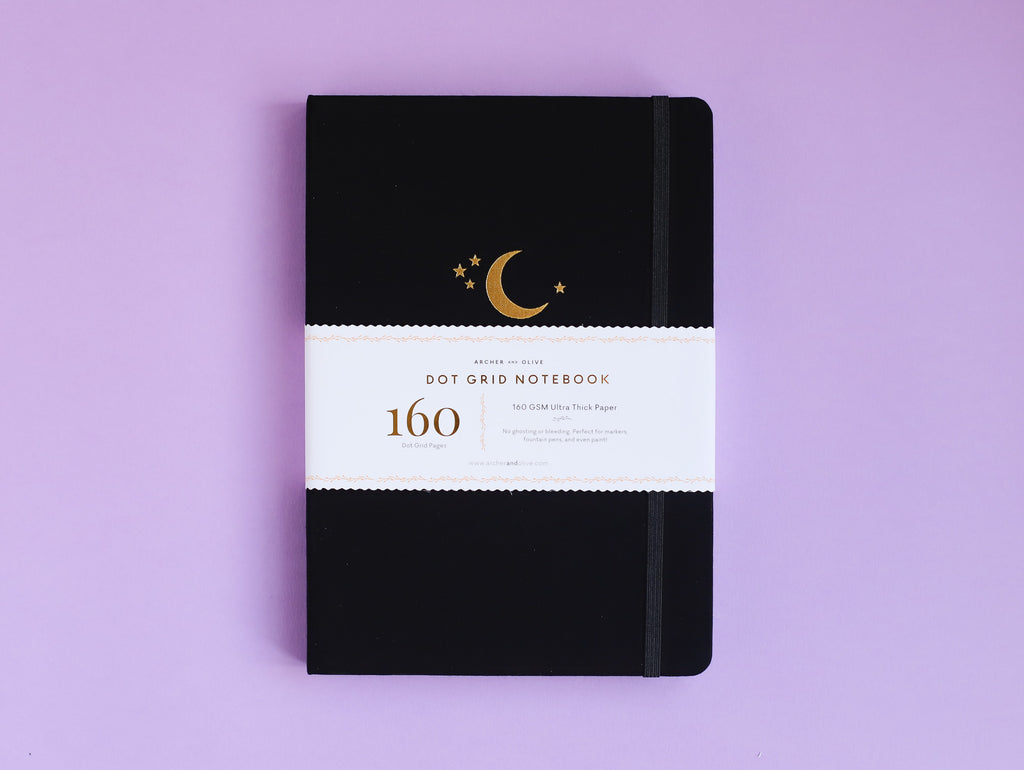 B5 Neapolitan Dot Grid Journal - Gold Crescent Moon Dot Grid Journal