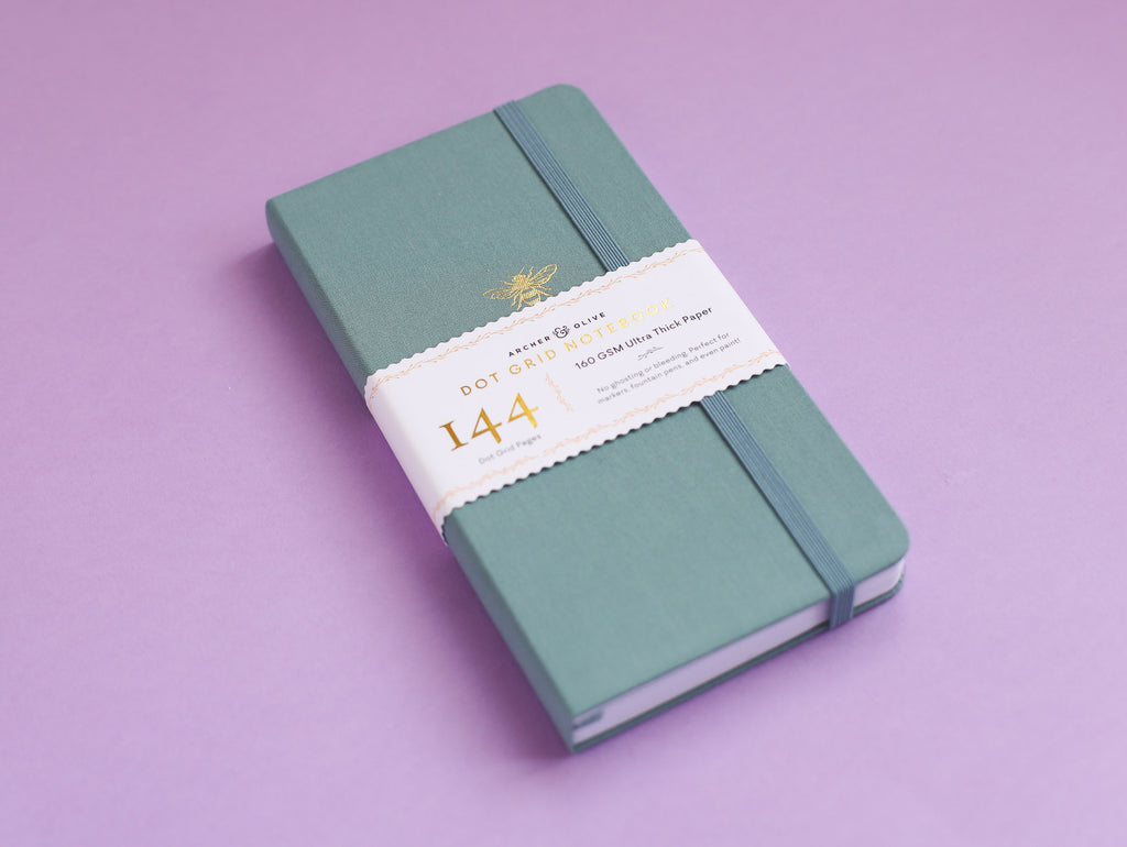 Travellers Size Dot Grid Journal - Teal Bee