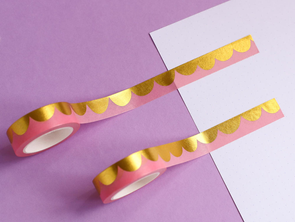 Pink & Gold Scallops Washi Tape