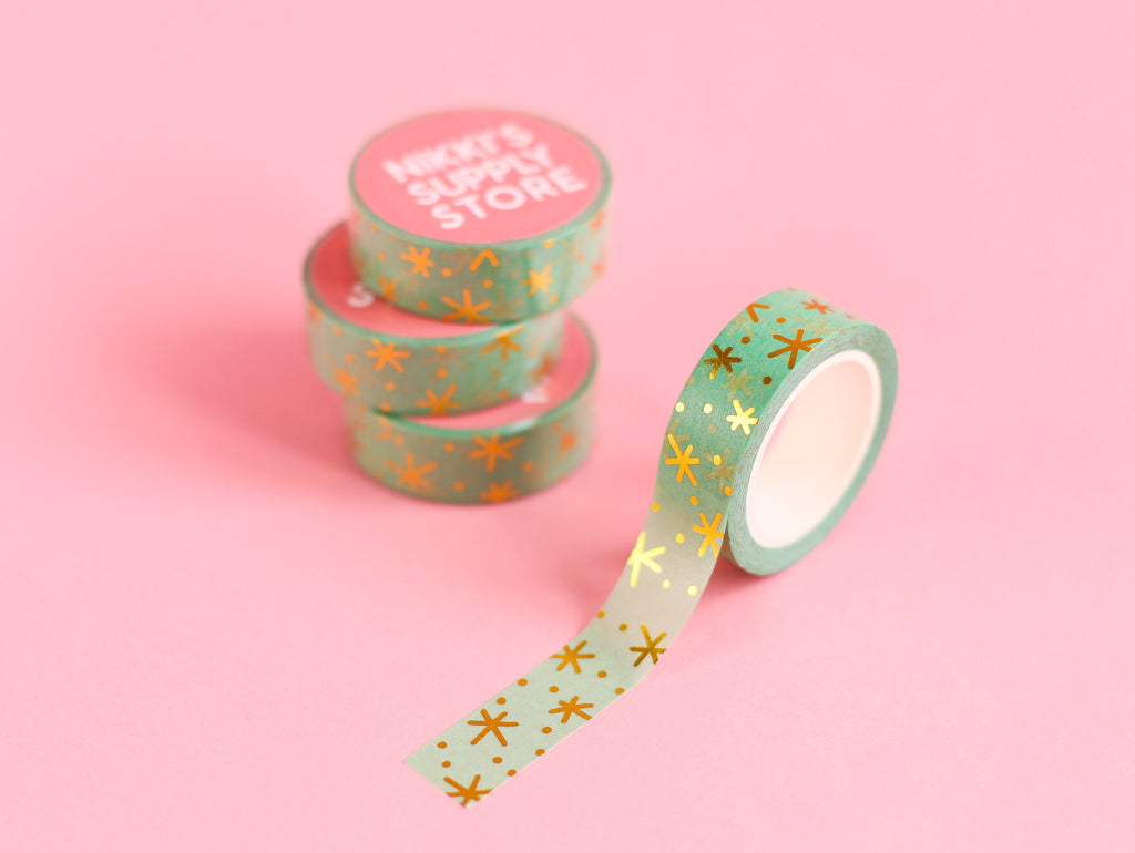 Twinkly Stars - Mint & Gold Washi Tape