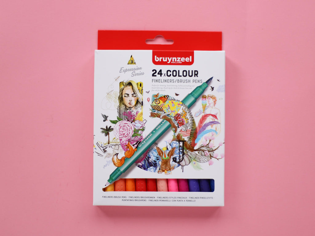 Fineliner / Brush Pen Dual Tip Set - 24 pack Rainbow
