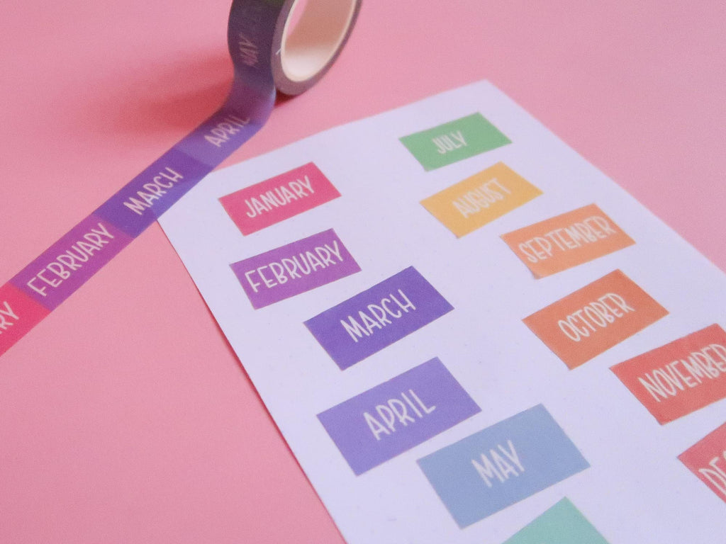 Rainbow Days of the Month Washi Tape
