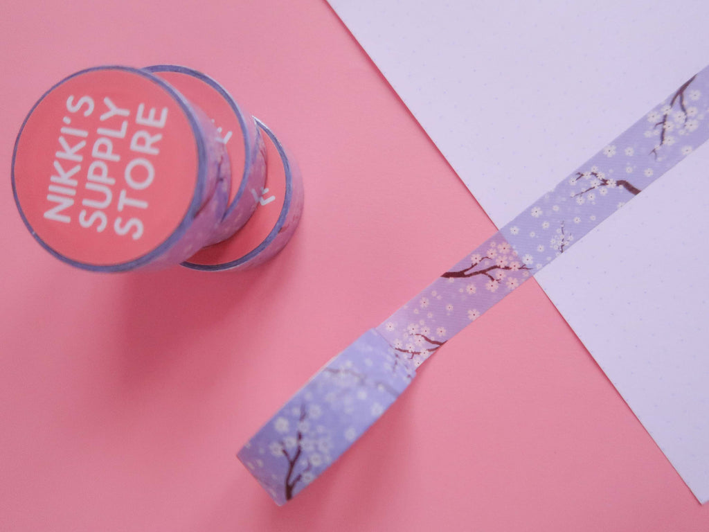 Blue Cherry Blossom Washi Tape