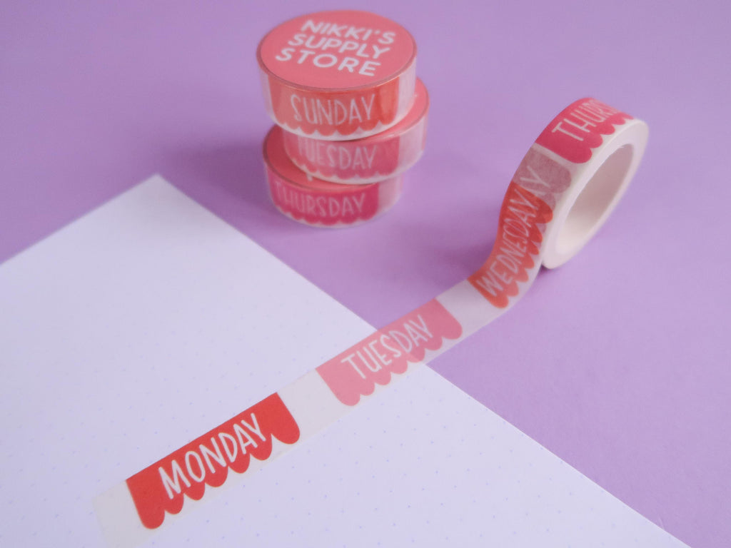 Warm Banners Days of the Week Washi Tape