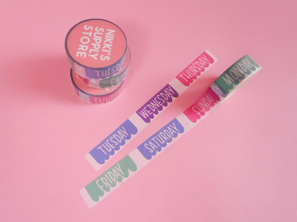 Bright Banners Days of the Week Washi Tape