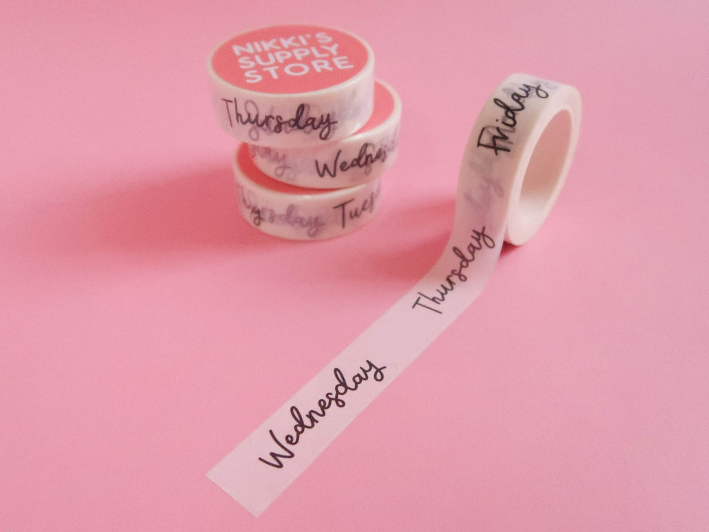 Monochrome Days of the Week Washi Tape - Cursive