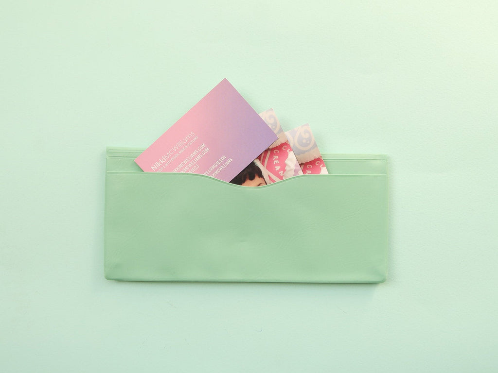 Nahe Vinyl Stationery Pouch - Mint Green