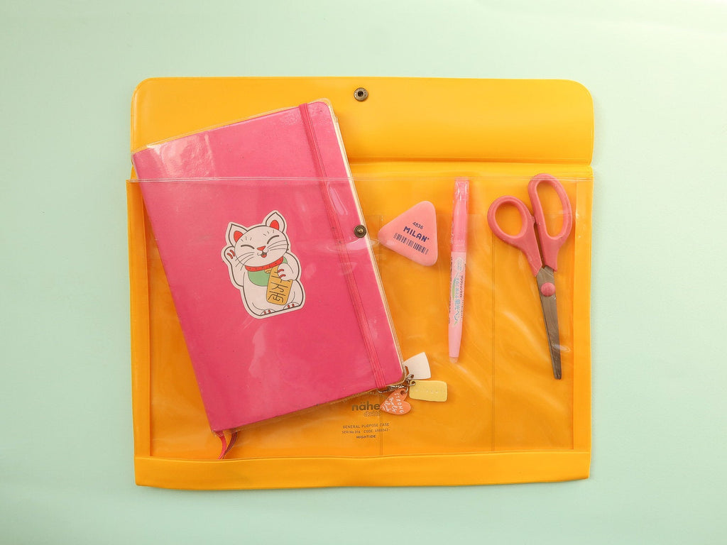 Nahe Vinyl Stationery Pouch - Large Sunshine Yellow