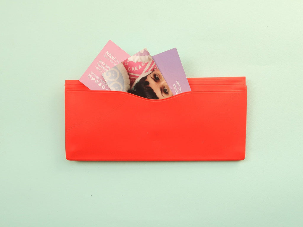 Nahe Vinyl Stationery Pouch - Poppy Red
