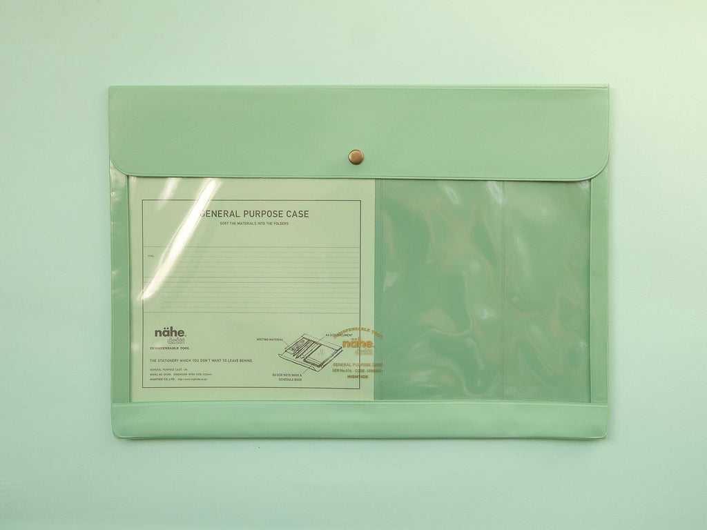 Nahe Vinyl Stationery Pouch - Large Mint Green