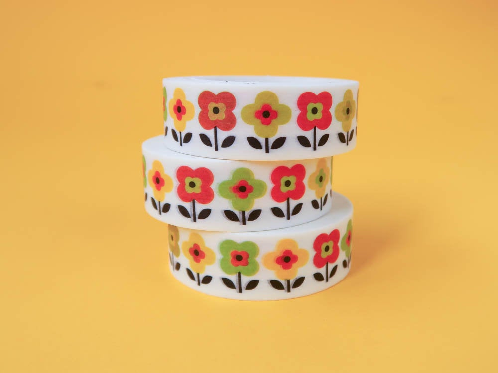 Retro Flowers Washi Tape