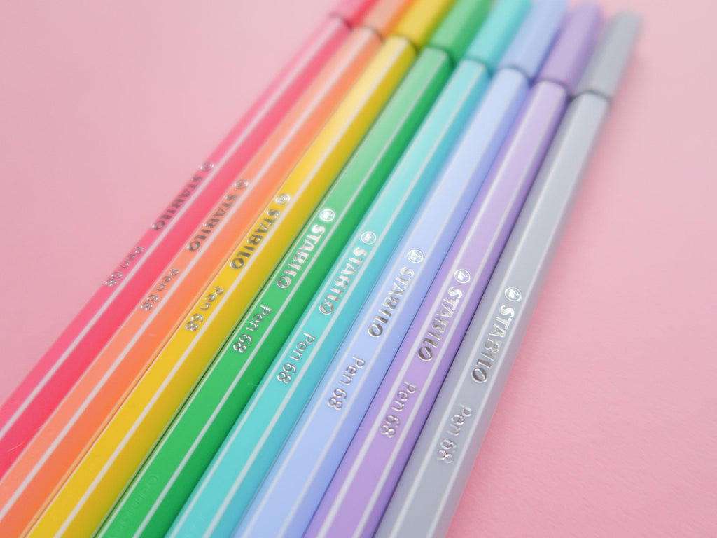 Pastel Marker Set of 8 - Pen 68 - Pastel Rainbow Mild Colour Bullet Journal Pens