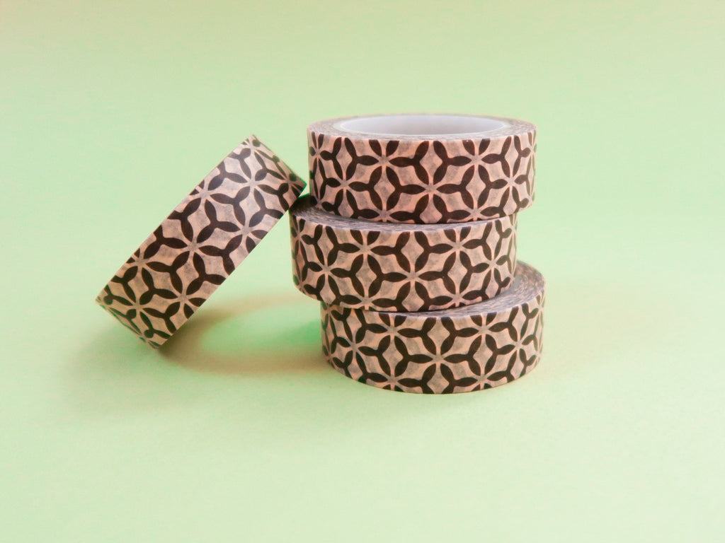 Black Geometric Kraft Washi Tape