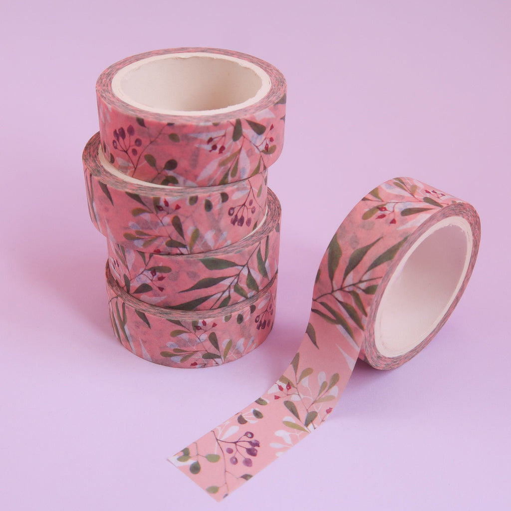 Plants on Pink Washi Tape