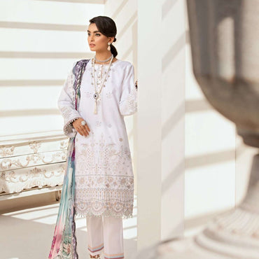 Ladies Un-Stitch Embroidered Lawn Festive Edition (Mystic Ivory)