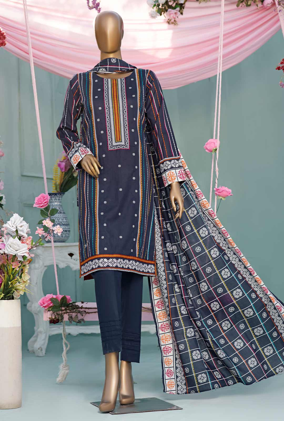 Ladies Un-Stitch Diamond Classic Printed Lawn Vol-02 (DCP-04-B Blue)