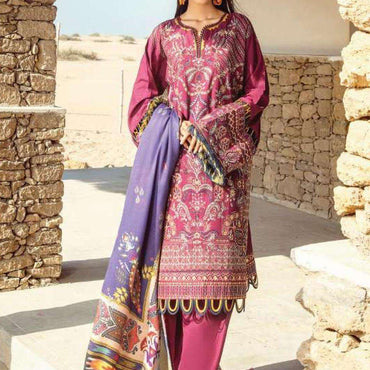 Ladies Un-Stitch Khaddar-2020 Baroque (04-DARK LILAC)