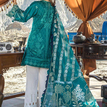 Ladies Un-Stitch Erum Khan Embroiderd Lawn (05 Deep Emerald)