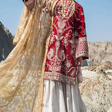 Ladies Un-Stitch Erum Khan Embroiderd Lawn (06 Ethnic Scarlet)