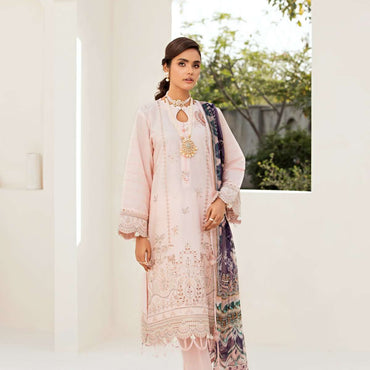 Ladies Un-Stitch Embroidered Lawn Festive Edition (Pink Flora)