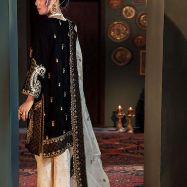 Ladies Un-Stitch Mohagni Tehzeeb Velvet Collection MV-20-07 BLACK