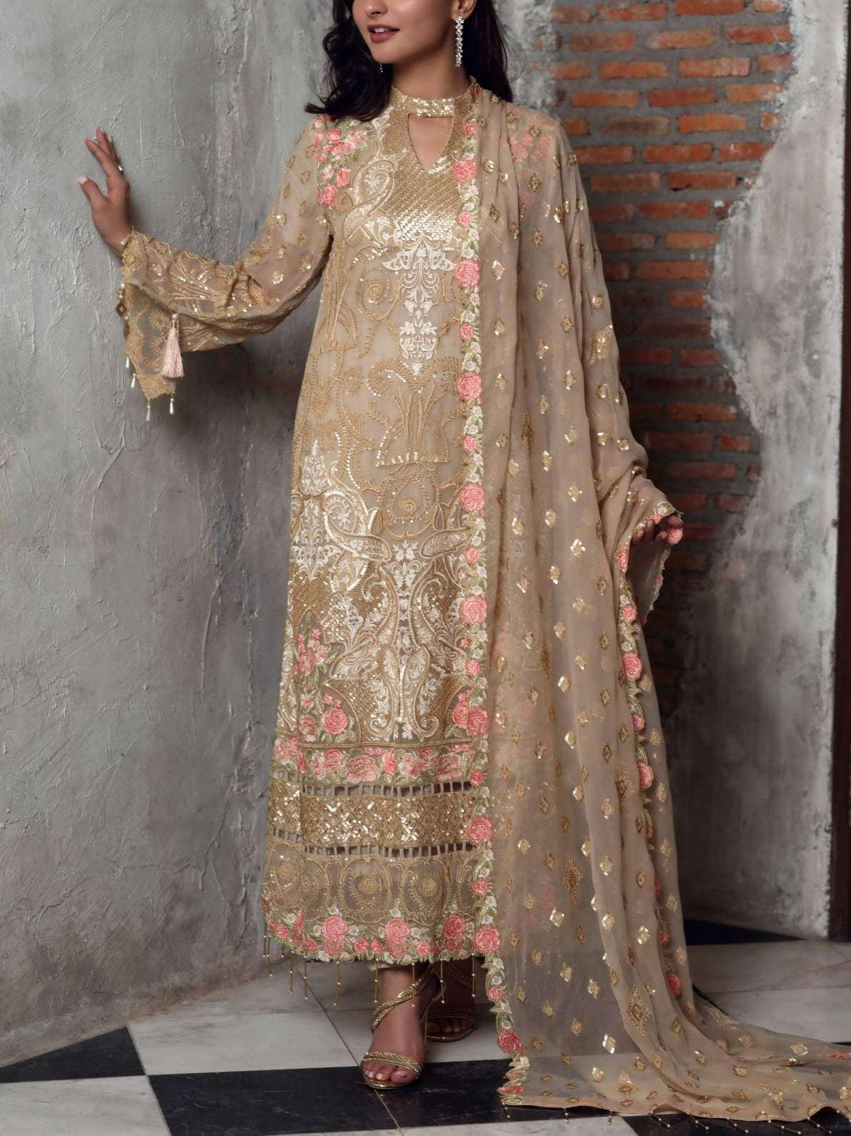 Ladies Un-Stitch Bemisal Luxury Chiffon Collection 2020 Caramel Whisper-BVS10