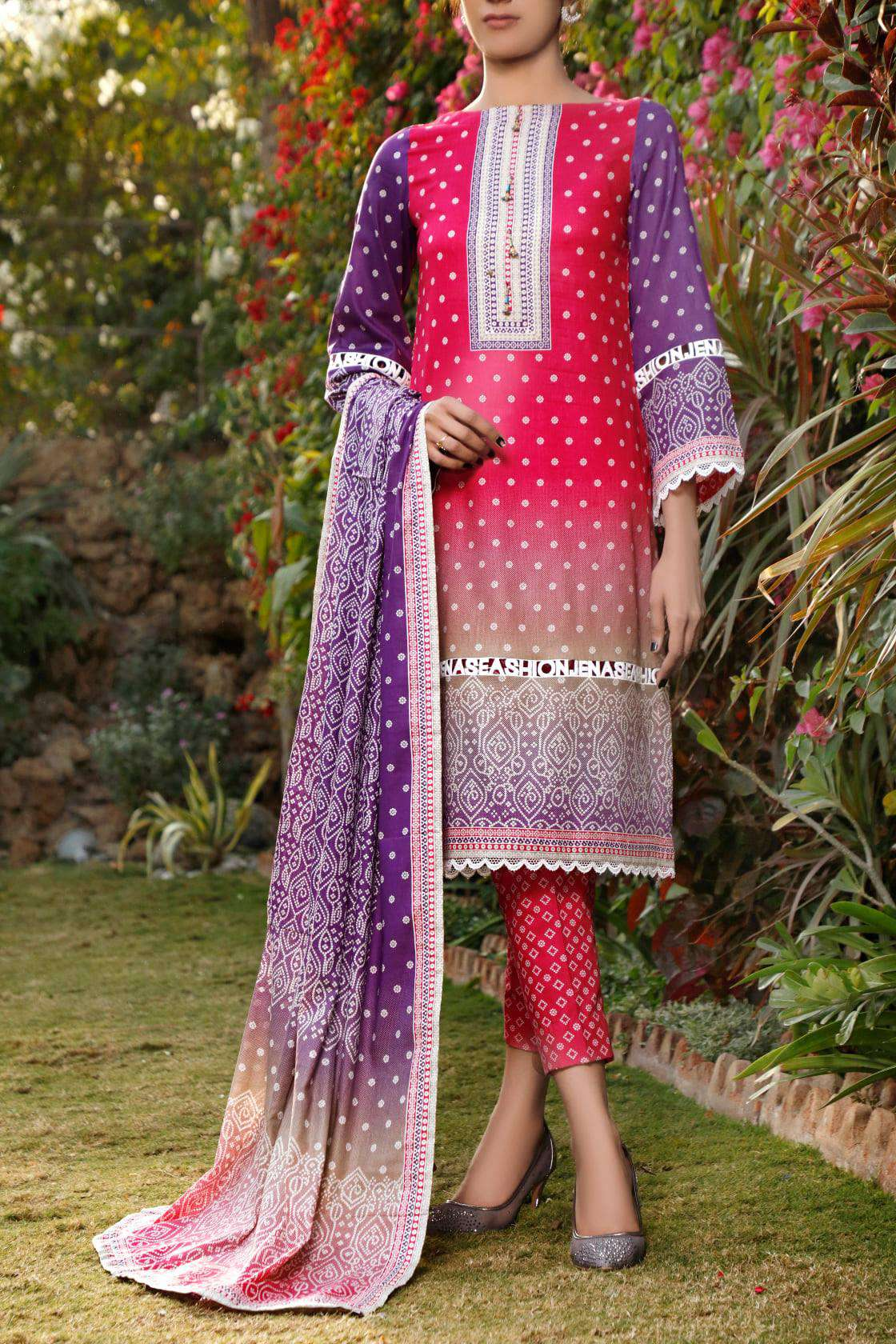 Ladies Un-Stitch Daman Printed Lawn Collection 1306A