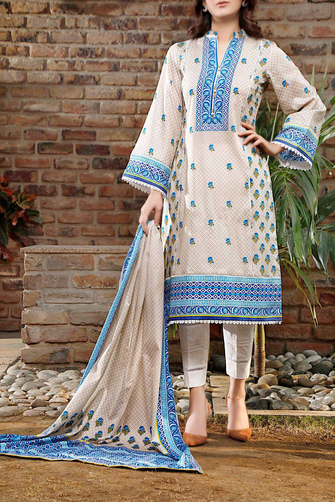 Ladies Un-Stitch Daman Printed Lawn Collection 1314A