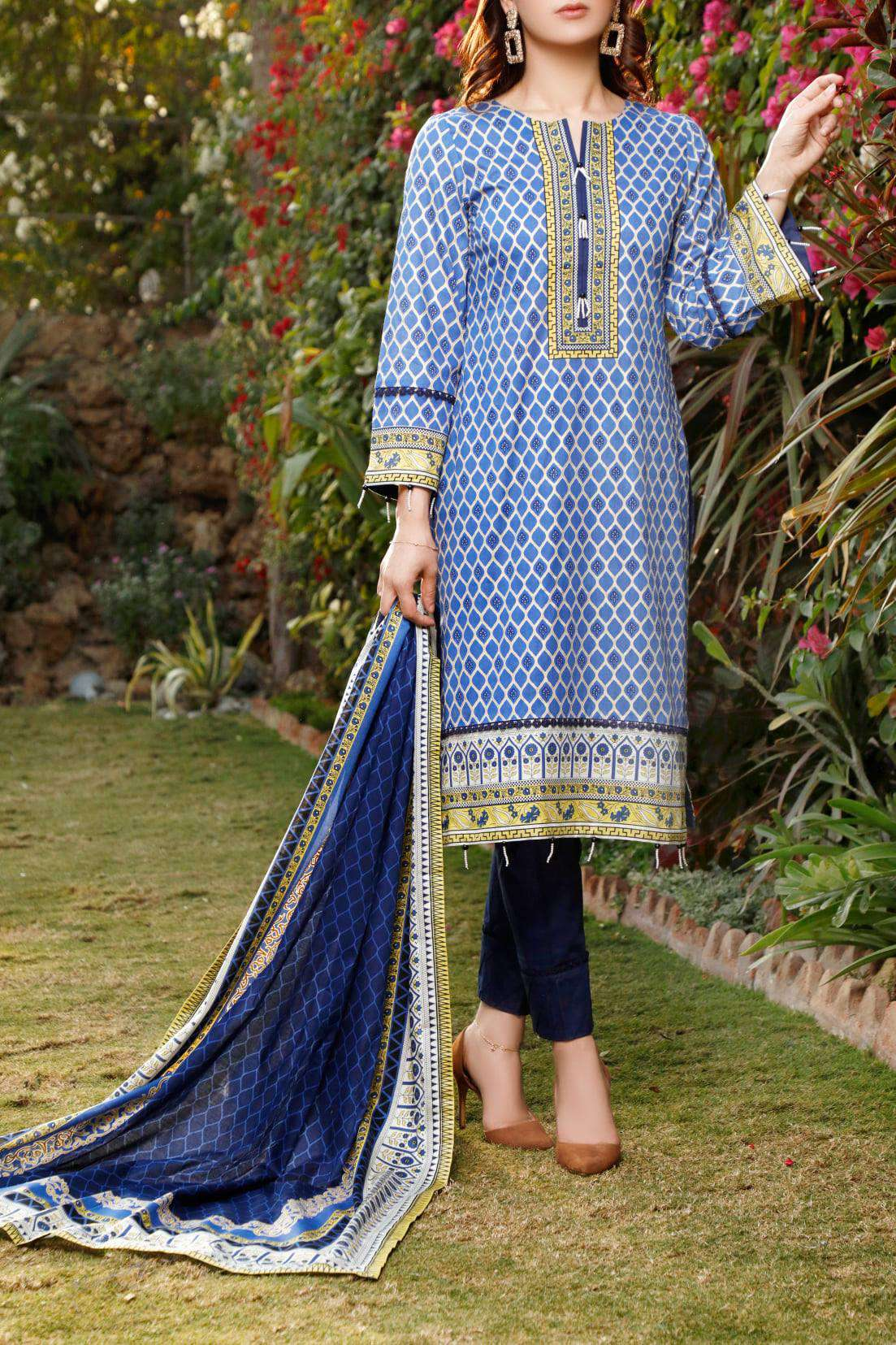Ladies Un-Stitch Daman Printed Lawn Collection 1318A