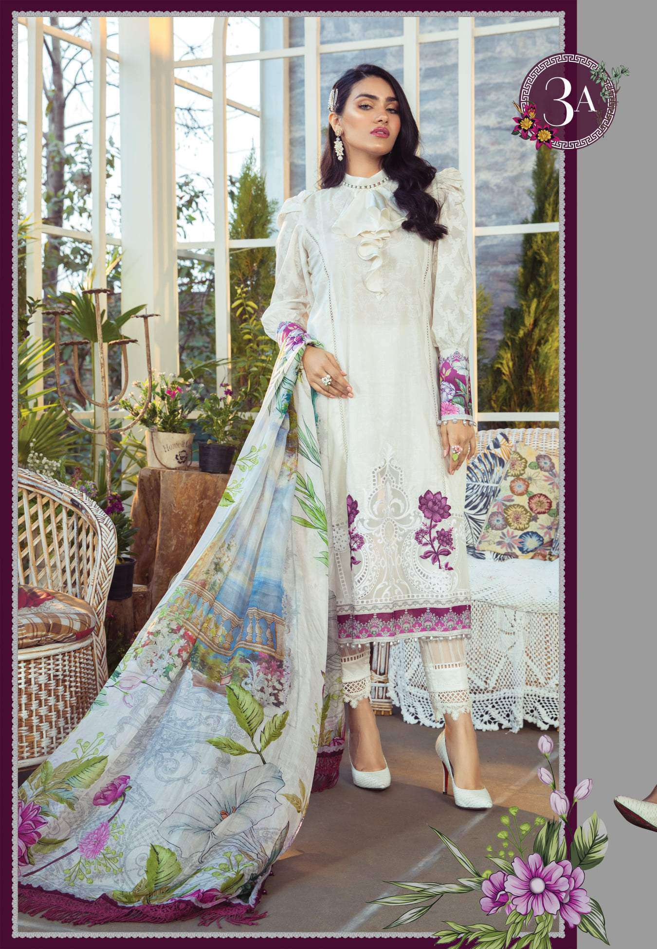 Ladies Un-Stitch Maria.B Mprints Lawn 2021 (3A)