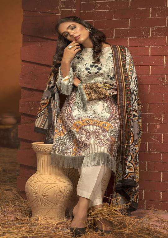 Ladies Un-Stitch Salitex Digtial Printed Embroidered Linen (WK-409)