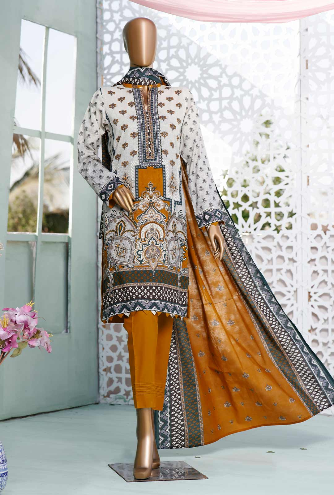 Ladies Un-Stitch Diamond Classic Printed Lawn Vol-02 (DCP-20-C Off White & Mustard)