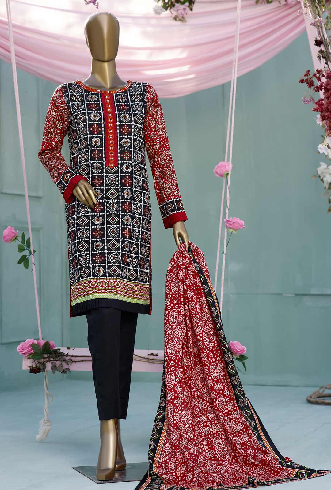 Ladies Un-Stitch Diamond Classic Printed Lawn Vol-02 (DCP-10-B Black)
