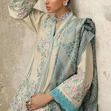 Ladies Un-Stitch Mushq Velvet Collection 08-LAGOON
