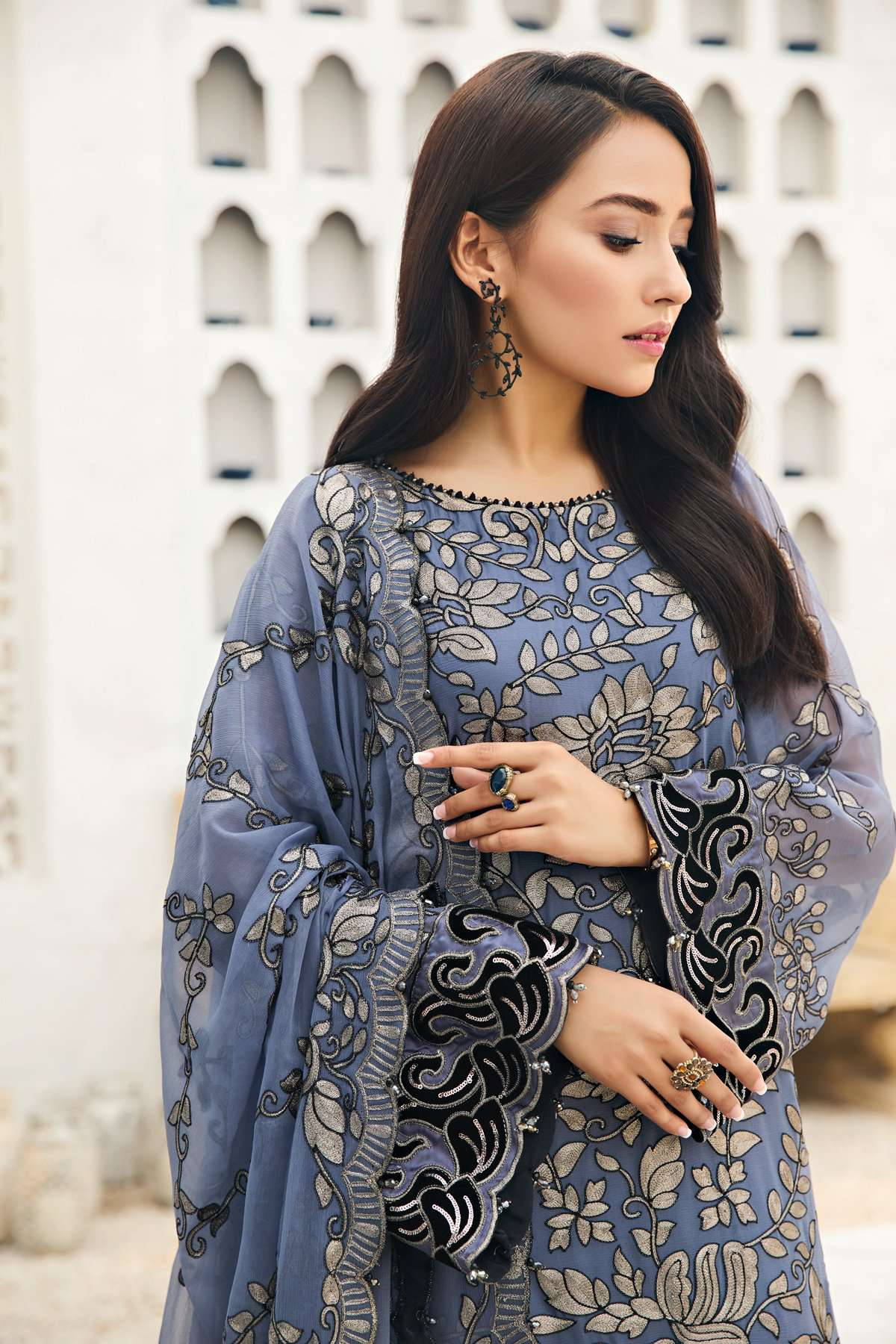 Ladies Un-Stitch Embroidered Chiffon Collection 07 Charcoal Mist