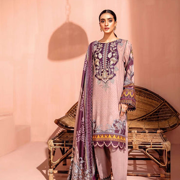Ladies Un-Stitch Farasha Linen Collection 2020 (04-Pink Clay)