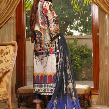 Ladies Un-Stitch Marjaan by Sifona Embroidered Lawn MEC-04-Marnin Medna