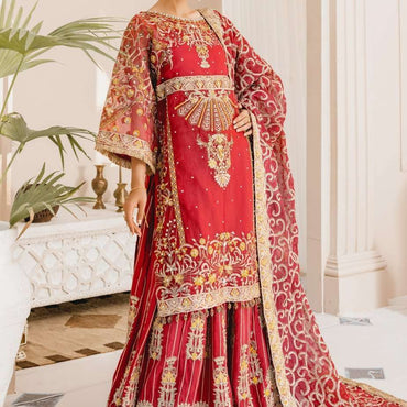 Ladies Un-Stitch Chiffon Collection Red & Red (MX-10)